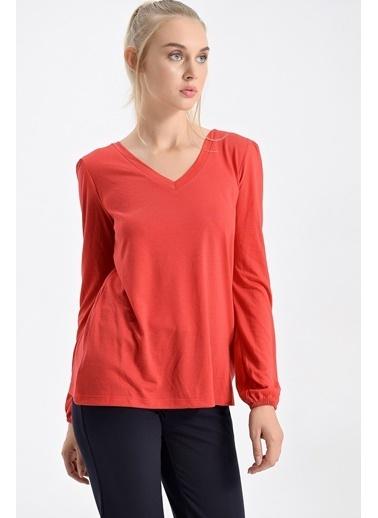 Jument Lycrasız Süprem Ön Arka V Yaka Kolu Büzgülü Bluz Kırmızı